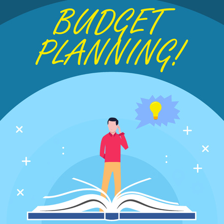 Handwriting text Budget Planning. Conceptual photo process company or individuals evaluate earnings expenses Man Standing Behind Open Book, Hand on Head, Jagged Speech Bubble with Bulb