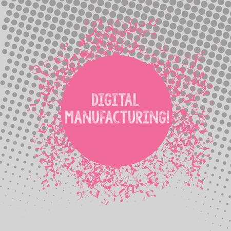 Text sign showing Digital Manufacturing. Business photo text integrated approach to analysisufacturing processes Disarrayed and Jumbled Musical Notes Icon Surrounding Blank Colorful Circle