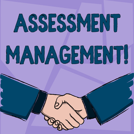 Handwriting text Assessment Management. Conceptual photo analysisagement of investments on behalf of others Businessmen Shaking Hands Firmly as Gesture Form of Greeting and Agreement 版權商用圖片