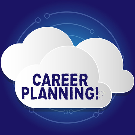Conceptual hand writing showing Career Planning. Concept meaning ongoing process where you Explore interests and abilities White Clouds Cut Out of Board Floating on Top of Each Other Banco de Imagens
