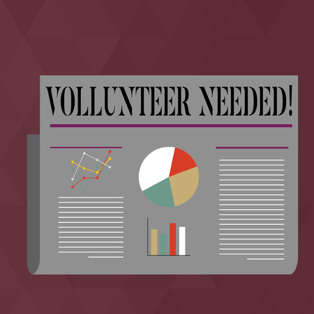 Handwriting text writing Volunteer Needed. Conceptual photo need work for organization without being paid Colorful Layout Design Plan of Text Line, Bar, Linear and Pie Chart Diagram Stock fotó