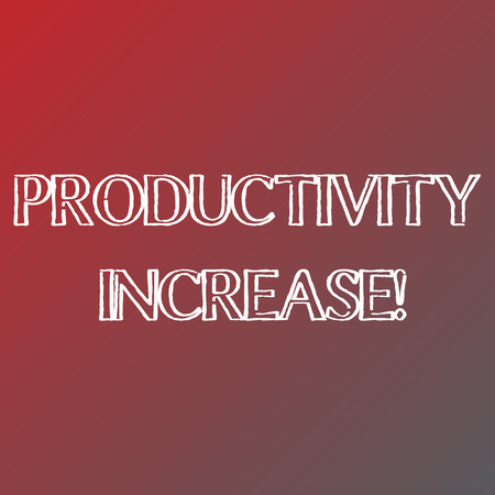Conceptual hand writing showing Productivity Increase. Concept meaning Labor productivity growth More output from worker Solid Colors of Red and Gray, Creating Lighter Shade in the Center Banco de Imagens