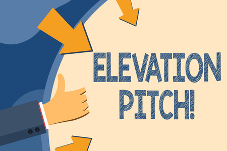 Text sign showing Elevator Pitch. Business photo showcasing short description of product business idea given to investor Hand Gesturing Thumbs Up and Holding on Blank Space Round Shape with Arrows 版權商用圖片