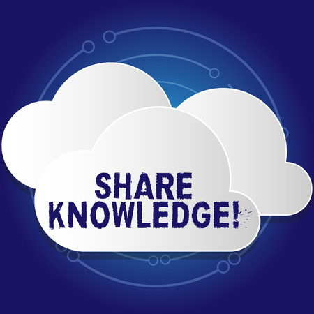 Conceptual hand writing showing Share Knowledge. Concept meaning exchanged among showing friends families communitiesor White Clouds Cut Out of Board Floating on Top of Each Other Banco de Imagens