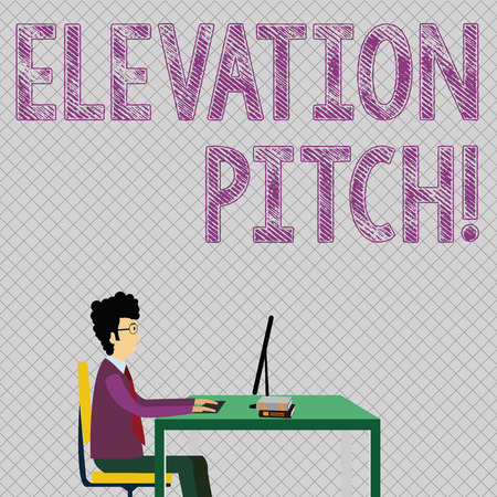Conceptual hand writing showing Elevator Pitch. Concept meaning short description of product business idea given to investor Businessman Sitting on Chair Working on Computer and Books