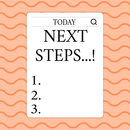 Writing note showing Next Steps. Business concept for something you do after you have finished doing first one Search Bar with Magnifying Glass Icon photo on White Screen Stockfoto