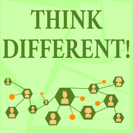 Writing note showing Think Different. Business concept for direct ones mind towards someone or something uniquely Chat icons with Avatar Connecting Lines for Networking Idea