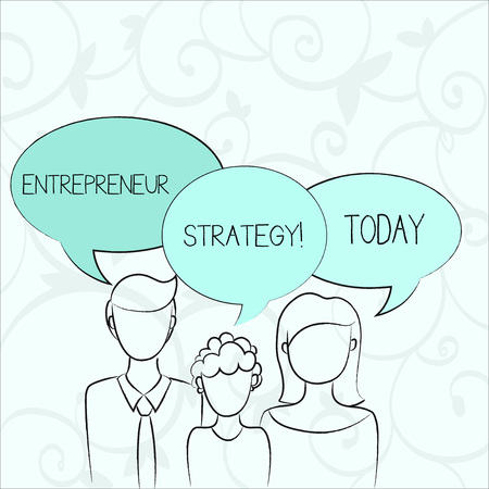Text sign showing Entrepreneur Strategy. Business photo showcasing establish and sustain a competitive advantage Family of One Child Between Father and Mother and Their Own Speech Bubble 版權商用圖片