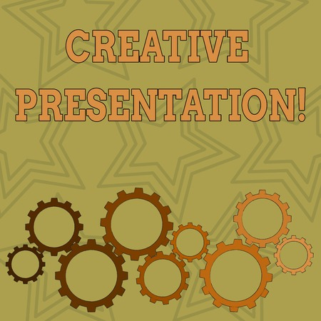 Writing note showing Creative Presentation. Business concept for process of presenting a topic to an audience Colorful Cog Wheel Gear Engaging, Interlocking and Tesselating 版權商用圖片