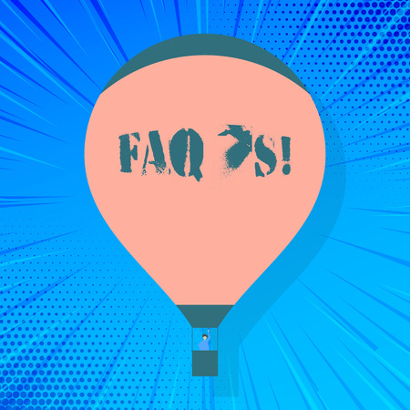 Writing note showing Faq S. Business concept for list of questions and answers relating to particular subject Hot Air Balloon Floating with Passenger Waving From Gondola Stock fotó