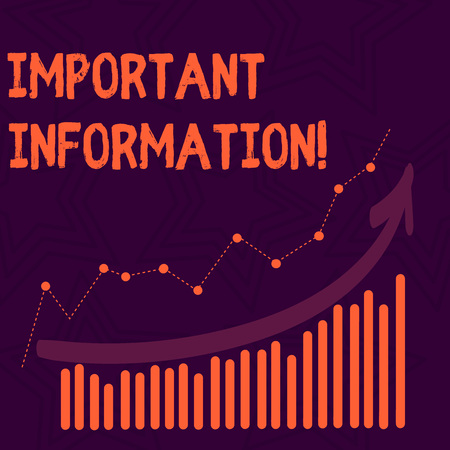 Text sign showing Important Information. Business photo text valuable facts provided about something or someone Combination of Colorful Column and Line Graphic Chart with Arrow Going Up 版權商用圖片