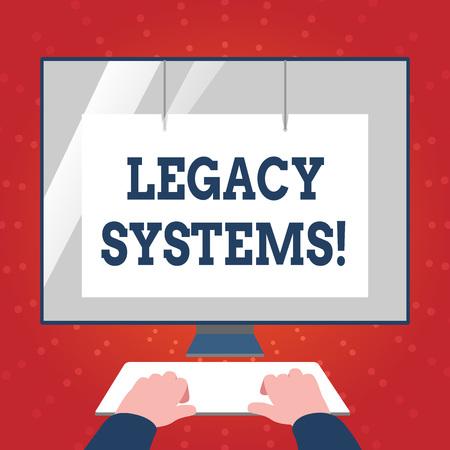 레거시 시스템을 보여주는 메모 작성. 오래된 방법 기술 컴퓨터 시스템 또는 응용 프로그램에 대한 비즈니스 개념 화면 보호기가 있는 키보드 전면 흰색 모니터에 손 스톡 콘텐츠