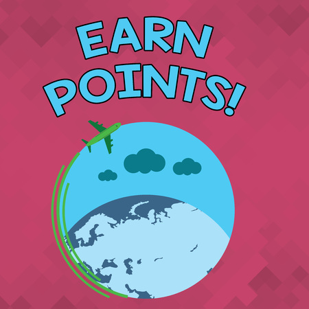 Word writing text Earn Points. Business photo showcasing collecting scores in order qualify to win big prize Airplane with Moving Icon Flying Around Colorful Globe and Blank Text Space Stock Photo