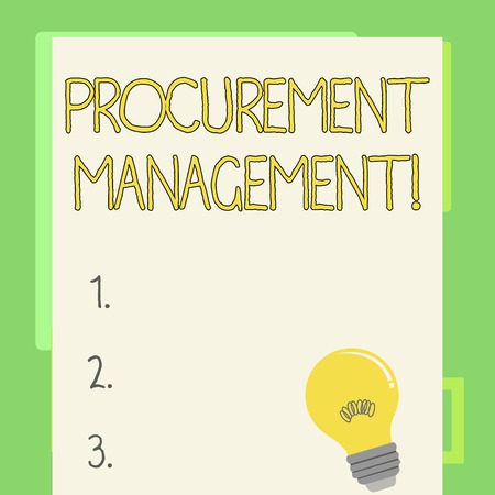 Handwriting text writing Procurement Management. Conceptual photo obtaining products and services from external firm Incandescent Light Bulb with Filament Inside Resting on Blank Color Paper