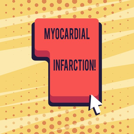 Handwriting text Myocardial Infarction. Conceptual photo due to the sudden deprivation of circulating blood Direction to Press or Click the Red Keyboard Command Key with Arrow Cursor