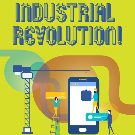 Text sign showing Industrial Revolution. Business photo text time during which work done more by machines Staff Working Together for Common Target Goal with SEO Process Icons