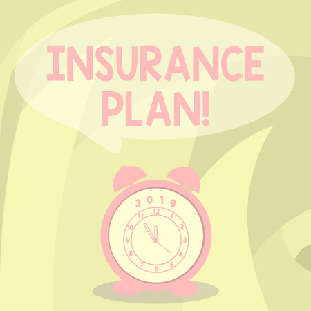 Word writing text Insurance Plan. Business photo showcasing provide benefits like risk cover fixed income return safety Round Blank Speech Balloon in Pastel Shade and Colorful Analog Alarm Clock