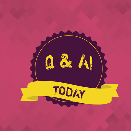Word writing text Q And A. Business photo showcasing defined as questions being asked and answers Blank Color Seal Sticker with Jagged Edge and Different Shade Ribbon Strip
