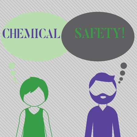 Text sign showing Chemical Safety. Business photo showcasing practice minimizing risk exposure chemicals any environment Bearded Man and Woman Faceless Profile with Blank Colorful Thought Bubble