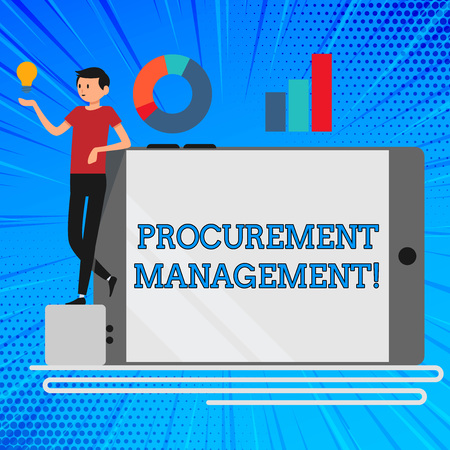 Handwriting text Procurement Management. Conceptual photo obtaining products and services from external firm Man Leaning on Blank Smartphone Turned on Its Side with Graph and Idea Icon Stock Photo
