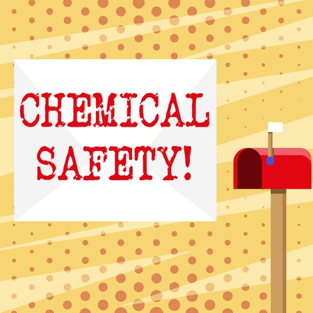 Conceptual hand writing showing Chemical Safety. Concept meaning practice minimizing risk exposure chemicals any environment White Envelope and Red Mailbox with Small Flag Up Signalling