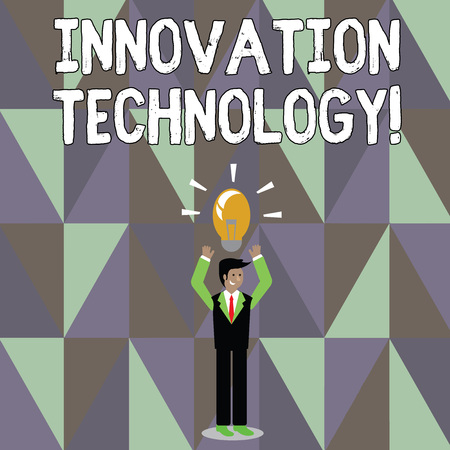 Word writing text Innovation Technology. Business photo showcasing Major technological changes of products and processes Businessman Standing Raising Arms Upward with Lighted Bulb Icon on his Head