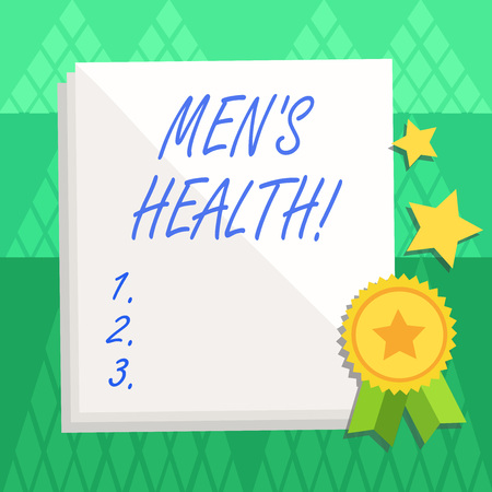 Conceptual hand writing showing Men S Health. Concept meaning state of complete physical mental and social well being by analysis White Sheet of Parchment Paper with Ribbon Seal Stamp Label