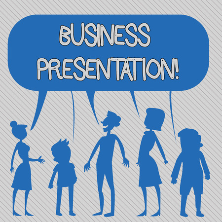 Text sign showing Business Presentation. Business photo showcasing Demonstration or to present a new idea or product Silhouette Figure of People Talking and Sharing One Colorful Speech Bubble 版權商用圖片