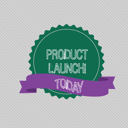 Text sign showing Product Launch. Business photo text when company decides to release new product in market Blank Color Seal Sticker with Jagged Edge and Different Shade Ribbon Strip