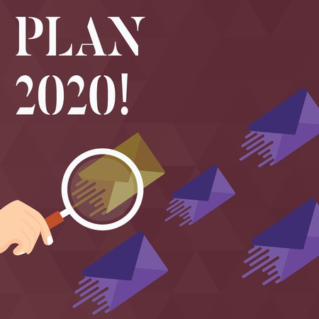 Handwriting text Plan 2020. Conceptual photo detailed proposal doing achieving something next year Magnifying Glass on One Different Color Envelope and others has Same Shade