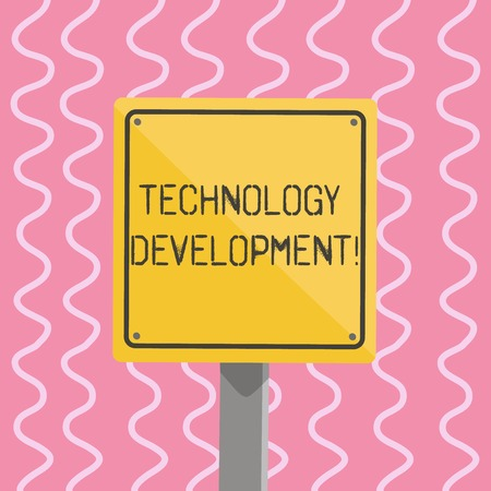 Text sign showing Technology Development. Business photo showcasing Anything in regards to inventions or innovations 3D Square Blank Colorful Caution Road Sign with Black Border Mounted on Wood