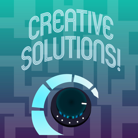 Text sign showing Creative Solutions. Business photo text mental process of creating a solution to a problem Volume Control Metal Knob with Marker Line and Colorful Loudness Indicator