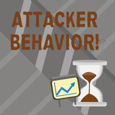 Word writing text Attacker Behavior. Business photo showcasing analyze and predict the attacker behavior of the attack Successful Growth Chart with Arrow Going Up and Hourglass with Sand Sliding
