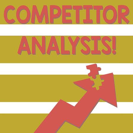 Texte de l'écriture de l'analyse des concurrents. Évaluation de la photo conceptuelle des forces et des faiblesses de l'entreprise rivale Flèche colorée pointant vers le haut avec une partie détachée comme une pièce de puzzle Banque d'images