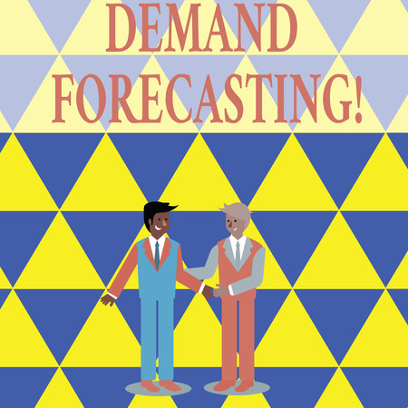 Text sign showing Deanalysisd Forecasting. Business photo showcasing predict customer deanalysisd to optimize supply decisions Two Businessmen Standing, Smiling and Greeting each other by Handshaking
