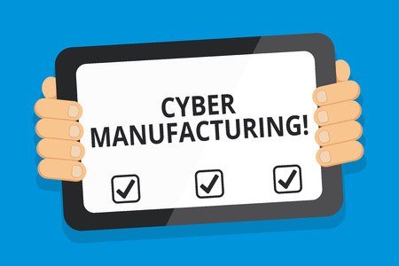 Word writing text Cyber Manufacturing. Business photo showcasing transformative concept that aims the translation of data Color Tablet Smartphone with Blank Screen Handheld from the Back of Gadget