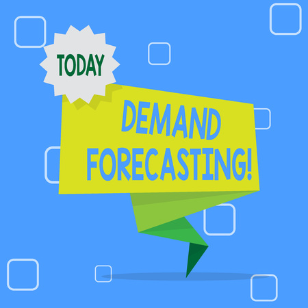 Handwriting text Deanalysisd Forecasting. Conceptual photo predict customer deanalysisd to optimize supply decisions Blank Space Green Two Tone Folded Back Banner Strip with Seal Stamp Sticker