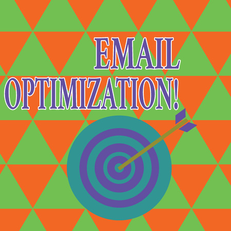 Text sign showing Email Optimization. Business photo showcasing email marketer to maximize the effectiveness of campaign Color Dart Board in Concentric Style with Arrow Hitting the Center Bulls Eye