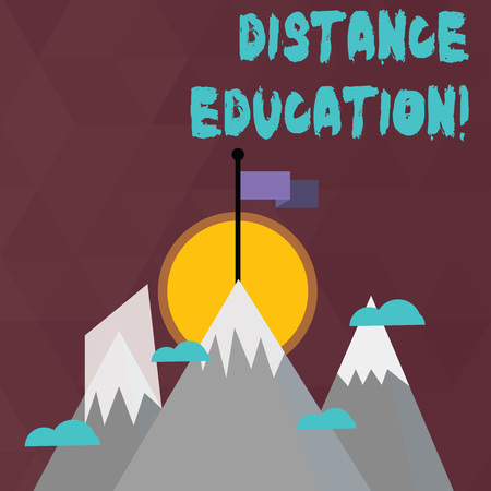 Conceptual hand writing showing Distance Education. Concept meaning learning remotely without being present at school Three High Mountains with Snow and One has Flag at the Peak