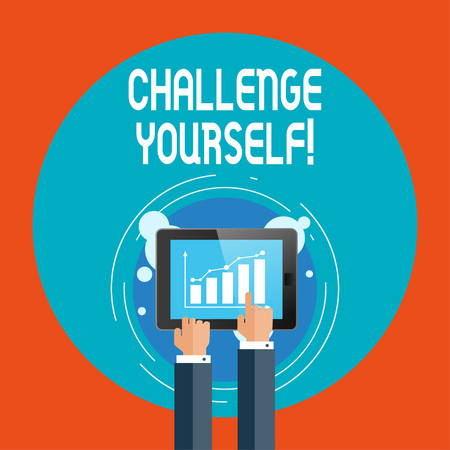 Text sign showing Challenge Yourself. Business photo showcasing opportunity to be part of something bigger than ourselves Businessman Hand Touching Pointing to Bar Line Chart on Smartphone Screen Banco de Imagens