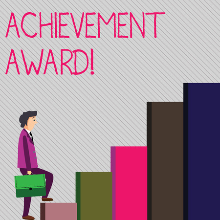 Conceptual hand writing showing Achievement Award. Concept meaning recognizes worthy and outstanding achievement in job skill Man Carrying a Briefcase in Pensive Expression Climbing Up 版權商用圖片