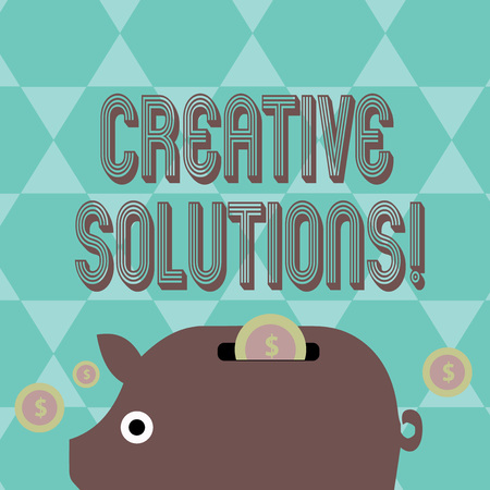 Writing note showing Creative Solutions. Business concept for mental process of creating a solution to a problem Piggy Money Bank and Coins with Dollar Currency Sign on Slit