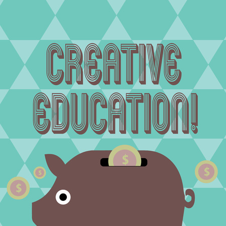 Writing note showing Creative Education. Business concept for students able to use imagination and critical thinking Piggy Money Bank and Coins with Dollar Currency Sign on Slit