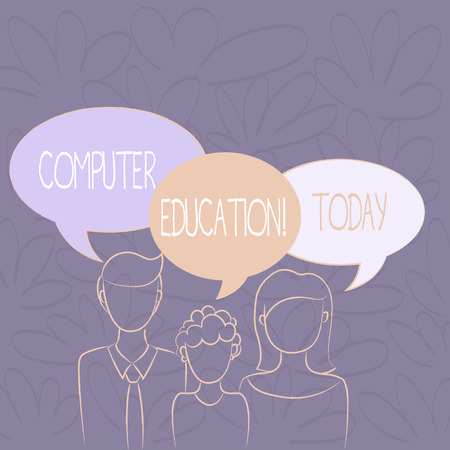 Handwriting text writing Computer Education. Conceptual photo gaining basic knowledge and skills to operate computers Family of One Child Between Father and Mother and Their Own Speech Bubble Imagens