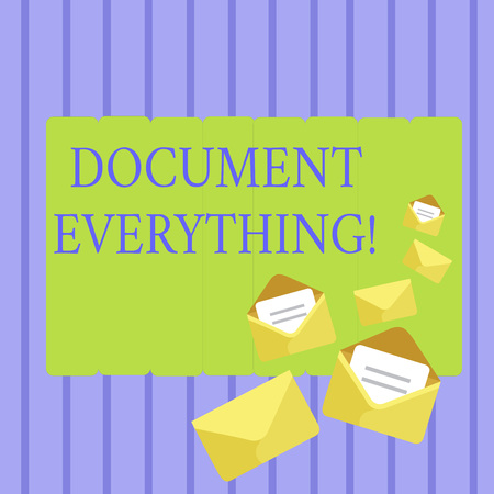 Writing note showing Document Everything. Business concept for computer file that contains text that you have written Closed and Open Envelopes with Letter on Color Stationery