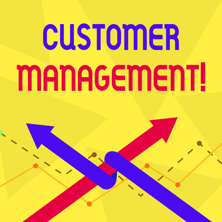 Handwriting text Customer Management. Conceptual photo customer retention and ultimately driving sales growth Two Arrows where One is Intertwined to the other as Team Up or Competition