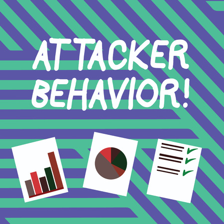Conceptual hand writing showing Attacker Behavior. Concept meaning analyze and predict the attacker behavior of the attack Presentation of Bar, Data and Pie Chart Graph on White Paper Imagens