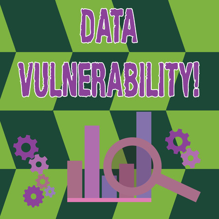 Word writing text Data Vulnerability. Business photo showcasing weakness of a data which can be exploited by an attacker Magnifying Glass Over Bar Column Chart beside Cog Wheel Gears for Analysis