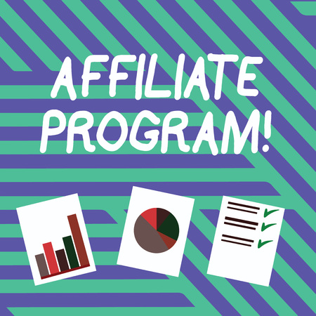Conceptual hand writing showing Affiliate Program. Concept meaning automated electronic program that involve a web advertiser Presentation of Bar, Data and Pie Chart Graph on White Paper