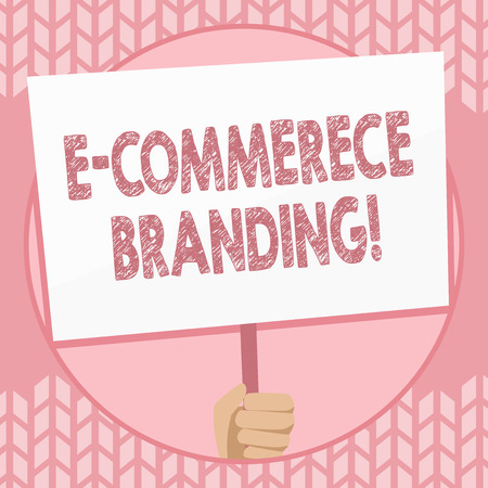 Writing note showing E Commerce Branding. Business concept for establish an image of your company in ycustomers eyes Hand Holding Placard Supported by Handle Social Awareness